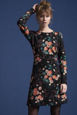 zwarte jurk met ronde hals en bloemprint duffy dress  04286