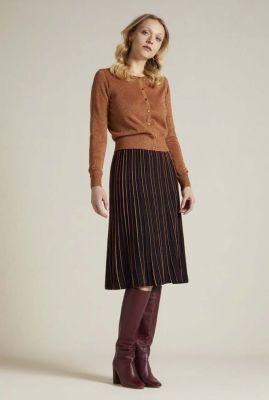 zwarte a-lijn rok met strepen pintuck skirt 05359