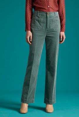 groene ribbroek met wijde pijpen garbo pocket pants corduroy 05393