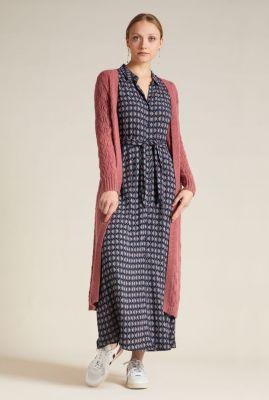 donker blauwe maxi jurk met print rosie maxi dress warrior 05587