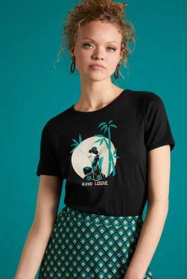 zwart t-shirt met geisha opdruk teatime tee 05710