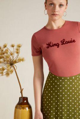 roze t-shirt van biologisch katoen met flock print king louie tee 05874