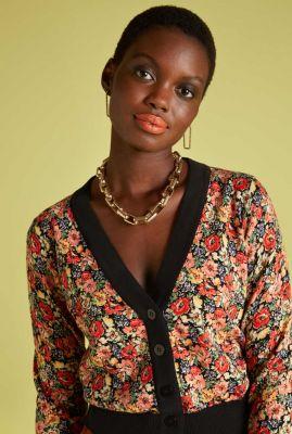 vest met all-over bloemen print cardigan v-neck santa rosa 05994