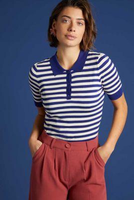 blauwe top met ingebreide strepen dessin polo top classic stripe 06031
