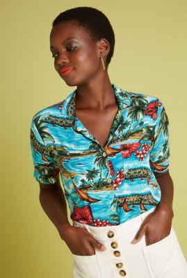hawaï blouse met borstzakje ella blouse great white 06215