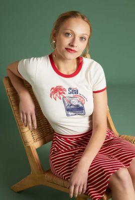 crèmekleurig t-shirt met opdruk tee vitamine sea 06258