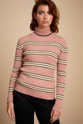 roze top met streep dessin rollneck top mc enroe 06481