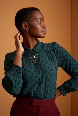 donker groene blouse met zwarte stippen sophia blouse 06521
