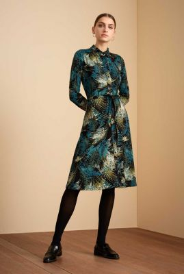 zwarte jurk met sierlijke print en ceintuur olive dress 06533