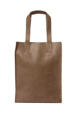 bruin leren handtas my paper bag long handle zip 10270001