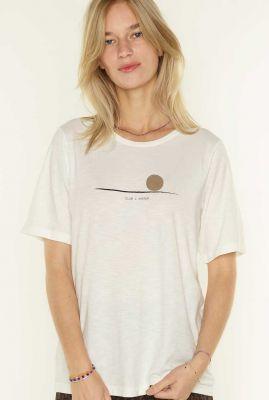créme kleurig t-shirt met opdruk zen 053206