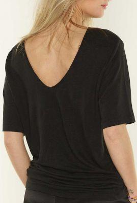 zwart linnen t-shirt met lage rug dana 1053211