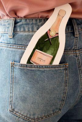 kaart in de vorm van een champagne fles  1066604