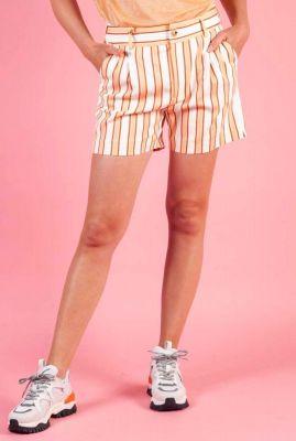 oranje high waist short met strepen dessin bea rally 133790