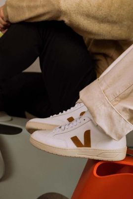 witte sneakers met suede details v-10 leather white camel vx0202652
