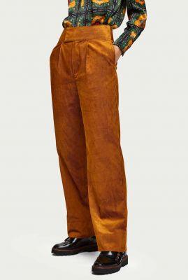 roest bruine corduroy broek met flared pijpen 152678