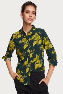 donkergroene blouse met gele all-over bloemenprint 156032