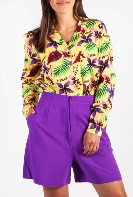 oversized katoenmix blouse met all-over print en borstzak 156043