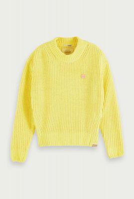gele gehaakte chenille trui met opstaande hals 156269