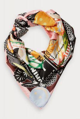 zijde look sjaal met zomerse grafische print 156313