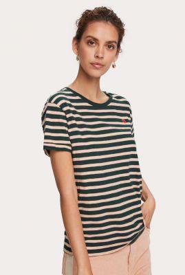 groen gestreept t-shirt van biologisch katoen 157069