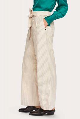 off-white broek met wijde pijpen en streep dessin 157415