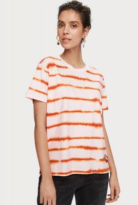 lichtroze oversized tie dye t-shirt met gestreept dessin 157450