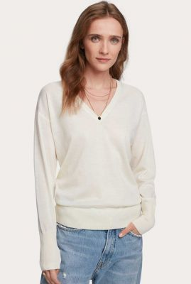 off-white trui van merino wol met v-hals en rib boorden 157454