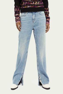 lichte straight fit jeans met hoge taille en split details 158767