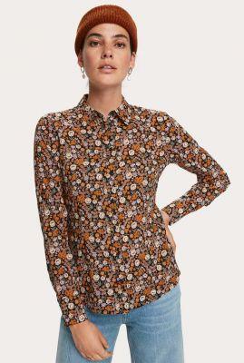 zwarte blouse met all-over bloemen dessin 158897
