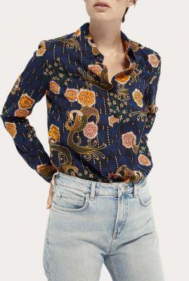 donker blauwe viscosemix blouse met sierlijke all-over print 158915