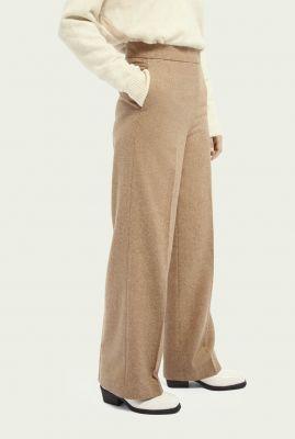 zand kleurige wollen broek wijde broekspijp 159077