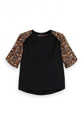 zwart t-shirt met raglan mouwen en bloemen dessin 159263