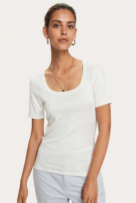 wit basis t-shirt met rib dessin  159276