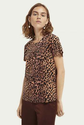 katoenen t-shirt met rechte pasvorm en luipaard print 159279