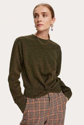 donkergroene trui met geknoopt detail en lurex glitters 159290