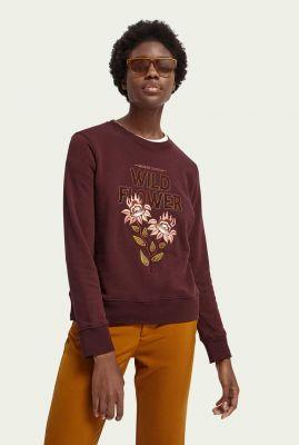 sweater van katoen mix met geborduurde applicatie 159319