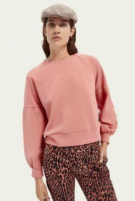 roze zachte sweater met pofmouwen en rits 159325