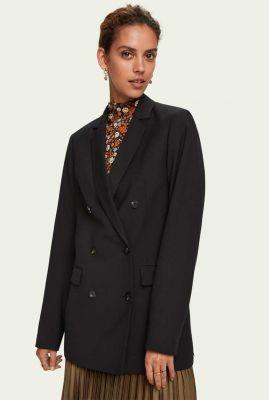 zwarte double breasted blazer met reverskraag 159465
