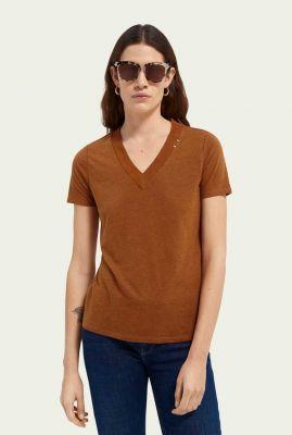 roestbruin linnen t-shirt met rechte pasvorm en v-hals 159949