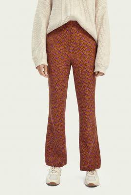 flared stretch broek met retro dessin 160413