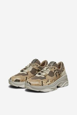 beige sneakers met slangen print gavina tigers eye 16066885