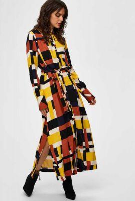 maxi jurk met grafische print en ceintuur hadley florenta 16070573