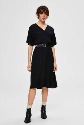 zwarte jurk met knoop detail vienna short dress noos 16071690