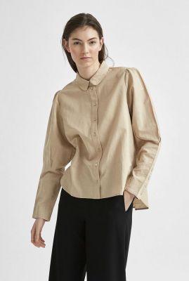 beige linnen blouse met pofmouwen sybilla linen shirt 16078279