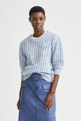 licht blauwe opengewerkte trui allison knit o-neck 16078404