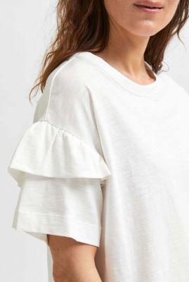wit biologisch katoenen t-shirt met ruches rylie florence tee 16079837