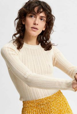 beige trui met ingebreid dessin donnay knit o-neck 16079841