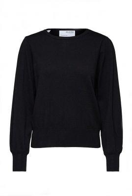 zwarte fijngebreide trui met ronde hals amanda knit o-neck 16079848