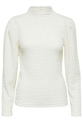 witte col top met textuur dessin rhea ls top 16080756